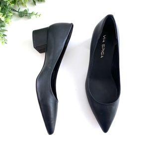 Via Spiga Black Leather Block Heel Pointy Toe Pump